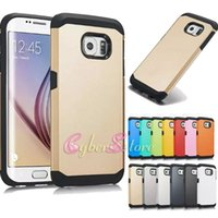 Wholesale Galaxy S4 Rubber - For Galaxy S6 S7 Edge plus Armor Hard Hybrid TPU PC Rubber Phone Back Case Cover For Samsung S5 S4