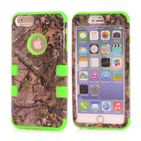 Wholesale Iphone Skin Tree - For Iphone 6 6S Plus 4.7 5.5 5C Samsung Galaxy S6 EDGE Hybrid Tree Grass Armor Hard PC + Silicone Case 3 in 1 Combo Rugged Camouflage skin