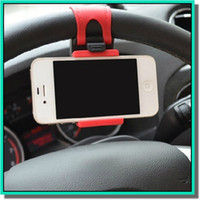Wholesale mounts for bike car - Universal Car Streeling Steering Wheel Cradle Holder SMART Clip Car Bike Mount for smart mobile samsung Cell Phone GPS holder with retail