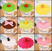 Wholesale Office Table Decorations - Novelty Cute Silicone Leak Proof Cup Lid Cartoon Design Resistant High Temperature Leak-proof Dust Cup Cover Home Office Table Decoration