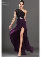 Wholesale Dress Making Pins - Dark Purple 2015 New Arrival Evening Dresses One Shoulder Black Lace Crystals Pin Red Carpet Gowns high quality prom Gowns side split gowns