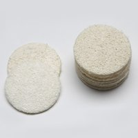 Wholesale Back Exfoliating - 5.5*5.5cm Roud Natural Loofah Pad Back Scrubber Face Makeup Remove Exfoliating and Dead Skin Bath Shower Loofah