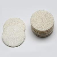 loofah esfoliante venda por atacado-5.5 cm / 6 cm / 7 cm / 8 cm Roud Natural Loofah Pad Rosto Maquiagem Remover Esfoliante e Morto Pele Banho Chuveiro Loofah