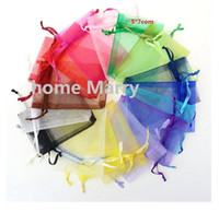 Wholesale Organza Bags 5x7cm - Wholesale- Free Shipping,Random Mix Colors Jewelry Packing Drawable Organza Bags 5x7cm,Wedding Gift Bags & Pouches,100pcs lot