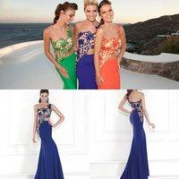 Wholesale Tarik Ediz Gowns - Beads Sequins Tarik Ediz Spring Evening Dresses Mermaid Jewel Sleeveless Evening Gown Embroidery Chiffon Long Trumpet 2015 Prom Dress