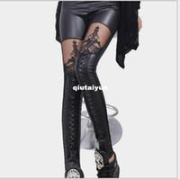 Wholesale Leather Patch Leggings - side lace patched fashion leggings sexy legging spitzeneinsatz wet look schwarz WY208