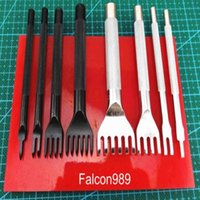 Wholesale Diamond Chisels - 9pcs Leather Craft Flat Diamond Sewing Stitch Pro-line Lacing Chisel Punch Tool