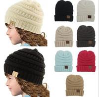 chapeaux tricotés pour enfants achat en gros de-2017 Automne Hiver Tricoté CC Trendy Chapeaux Bébés Tricotant Beanie Enfants Mode Chaud Caps Pour Enfants Casual Accessoires