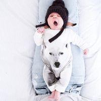 kutup ayısı kostümleri toptan satış-2016 Yeni Bebek romper suit Pamuk uzun kollu 3D Kutup Ayısı Saf pamuk Baskı rompers erkek / kız kostümleri Toddlers bodysuits tayt setleri