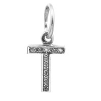 Letter T Dangle com Clear CZ 020 100% 925 Sterling Silver Beads Fit Pandora Charms Bracelet Autêntico DIY Fashion Jewelry