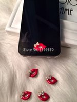 Wholesale Sexy Home Button Iphone - Wholesale-Sexy Lips Button Sticker Home Button Stickers for iphone 4S 5 S Free shipping