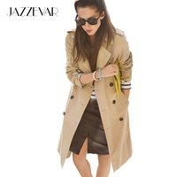 Barato Outerwear Impermeável Para Mulheres Moda-Atacado- JAZZEVAR High Fashion Street Mulheres Classic Double Breasted Trench Coat Business Waterproof Raincoat Office Lady Outerwear