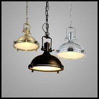 Wholesale Large Iron Pendant Light - AC 110V 220V 230V 240V Large Heavy 39*39cm Lustres home Vintage Industrial Metal Lamp vintage black chrome pendant light big retro lamp