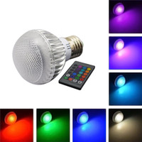 Wholesale E27 Type Led Bulbs - 3W E27 GU10 E14 B22 RGB LED Bulb Light 16 Colorful Changing IR Remote Control Long Life 6 Modes of the Light Type Lower Energy Consumption