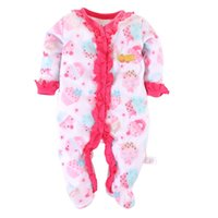 Wholesale Rompers Feet - Cheapest Cute Baby Girls Rompers Fleece Warmer Winter Baby Clothes Cake Pink Baby Clothes Set Foot Socks Top Quality Hot Sale