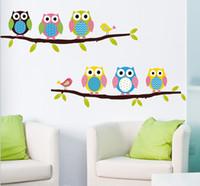 ingrosso murales gufo per i bambini-2015 cartone animato carino animale cervo gufo albero fungo fai da te parete adesivi carta da parati adesivi art decor murale camera dei bambini decal sticker
