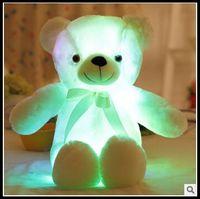 Wholesale Teddy Bear Stuffed Toys - 4 Colors 50cm Colorful Glowing Teddy Bear Luminous Plush Toys Kawaii Light Up LED Teddy Bear Stuffed Doll Kids Christmas Toys CCA8353 10pcs