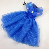 Wholesale Cosplay Gowns - 2015 Cinderella Dress With LaceTulle Gown Maxi Dress Girls Cosplay Costume Blue Dresses with butterfly Newest Kids Clothing F045 1pcs