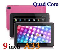 Wholesale Cheap Phones Pink Android - Cheap Allwinner A33 Quad Core 9 inch Tablet PC 8GB ROM Bluetooth Android 4.4 Dual Camera Flashlight Bluetooth Tablet PC