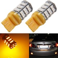 Vendita calda T20 7443/7440 54 LED 3528 SMD giallo ambra Auto Car Light Source segnale di girata Wedge Brake Parcheggio lampadina DC12V ordine $ 18no pista