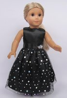 Wholesale Black American Doll - Fashion Christmas Gifts For American Girls Dolls Accessories Handmade Princess Black Dress For 18'' American Girl Dolls Wholesale