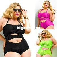 Wholesale Retro Xl - 1510 L XL XXL XXXL 4XL One Piece High Waist Retro plus size swimwear bathing suits cutout reversible swimsuit Big Size