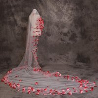 Wholesale Satin Flower Heads - 2015 soft Charming 5 M long wedding bridal veils real made red flowers veil Soft Bridal Head Veils wedding accessory free shipping J1201