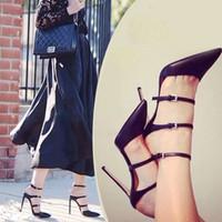черные гладиаторские туфли оптовых-Wholesale-2015 New  Women Sandals High Heels gladiator Sandals Women Pumps Stilettos Sexy Wedding Party Shoes White Black