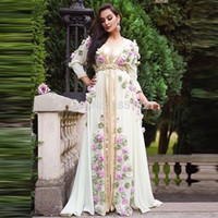 vestido de noite vintage artesanal venda por atacado-Árabe Oriente Médio Vestidos de Noite Formais com Flores Feitas À Mão Robe Dubai Turco Marroquino Prom Evening Vestidos Plus Size