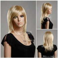 Wholesale Kanekalon European - hot sales wig european women wig medium long blonde wig Synthetic fiber of 100% Kanekalon 1pc Lot Free Shipping 0729ZL349A-613E