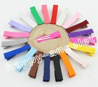 Wholesale Grossgrain Ribbons Bows - 120pcs lot New style Grossgrain Ribbon Alligator Clip Lined Clips,Single Pronged Alligator Clips,baby girls Hair Accessories FJ3206