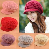 Wholesale Crochet Baseball Hat Patterns - Wholesale-1PC Winter Autumn Warm Women Crochet Knitted Hemp Pattern Wool Peaked Baseball Brim Visor Hats Cap