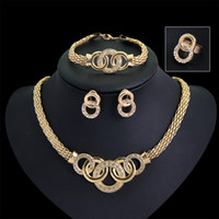 Wholesale Costume Bracelet Necklace - Gold Plated Fine Jewelry Set For Women Beads Collar Necklace Earrings Bracelet Rings Sets Costume Latest Fashion Accessories