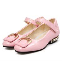 Wholesale Korean Fashion Shoes For Kids - 2015 New Kids Trendy Spring Autumn Shoes Sweet Korean Fashion Shoes for Girls Patent Leather Princess Shoes with Pearl at Back Low Heel