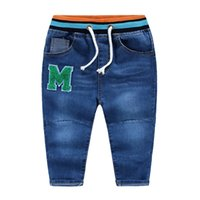 Wholesale Cool Jeans For Kids - Cool NEW arrival spring fall boys jeans M letter applique 100%cotton washed Knitted striped waist pants for boy Children kids jeans PP pants