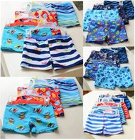 Wholesale Cartoon Beach Shorts - Fedex DHL 30pcs lot boys swim trunks 17 style u pick size color Animal cartoon toddler swim trunks kids swimming shorts beach shorts