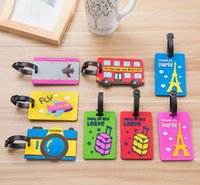 Wholesale Cute Suitcases - 10 Styles Fashion cartoon Silicone Luggage Tag Travel Suitcase Tag Cute Cartoon Luggage Identification Boarding Pass Checked Label