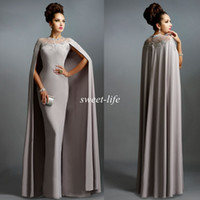 Wholesale Formal Capes - Sexy Formal Celebrity Dresses 2015 Elie Saab Cape Vintage Evening Gowns Grey Pleated Ruffles Lace Sheer Neckline Cheap Sheer Prom Dresses