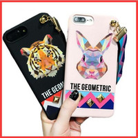 Wholesale Iphone Wholesale Europe - Europe Animal Tiger Rabbit Stud Rivet Wrist Strap Case for iPhone 7 Case for iPhone7 6 6S PLus Soft TPU Cover