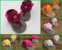 Wholesale Crochet Flower Baby Sandals Cotton - 2015 cute little flowers soft bottom children summer sandals wool fabrics hand-made comfortable baby beach sandals 8 pair 16pcs B3