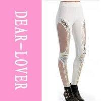 Wholesale Leggings Studs - Plus Size New 2014 Fashion Stretchy Punk Studs Net Leggings White LC79055 Cheap Price Drop Shipping FG1511