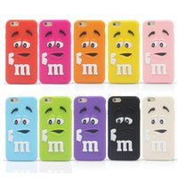 3D Dessin Animé MM Parfum Chocolat Rainbow Bean Silicone Case pour iPhone 4 5 5C 6 Plus iPod Touch Samsung Galaxy S6 Bord Plus Note Note5