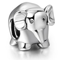 Wholesale Baby 925 Silver Jewelry - Cute Baby Elephant European Charm 925 Sterling Silver Beads fit Pandora Bracelet Snake Chain Wholesale Jewelry