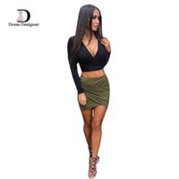 Wholesale Women Pencil Skirts New Fashion Elegant Empire Sexy Pleat Cotton Mini Skirt Black Grey Red Green Blue