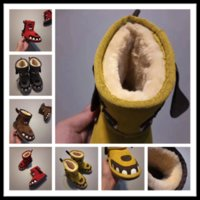 Wholesale Snowboots Boys - Top Winter keep warm Kids teeth snow boots cowhide Ankle for children Authentic Cute girls and boys snowboots unisex shoes youth EUR 24-34