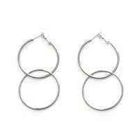 Wholesale long metal wholesale fashion earrings - Wholesale- Statement Big Long Hoop Earrings For Women Metal Double Aros Round Circle Earrings 2017 New Fashion Brinco Jewelry XE201