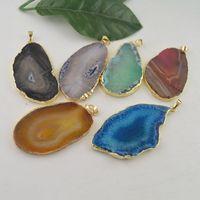 agate pendentif en or druzy achat en gros de-Druzy 24kt plaqué or Edge Agate Slice pendentifs pierre pendentif bijoux