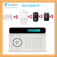 Wholesale System Gsm 433 - Free shipping DHL GSM home Burglar security alarm system 433 MHZ wireless 2pcs pet-immnue PIR detector 5 pcs door magnetic detector