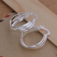 pendientes torcidos al por mayor-Moda (fabricante de la joyería) 40 piezas mucho Twisted 3 pendientes del círculo 925 precio de fábrica de la joyería de plata esterlina Moda Shine Earrings