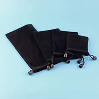 Wholesale Drawstring Bags For Jewelry - Waterproof Black Drawstring Velvet Pouches Retail Bags Carrying Case Package Packing for Jewelry Earphones Power Bank Accessories DHL